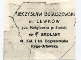 Nagłówek listu Mieczysława Boguszewskiego z majątku Lewków